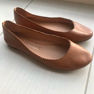Vince Camuto Tan Leather Ballet Flats Signature